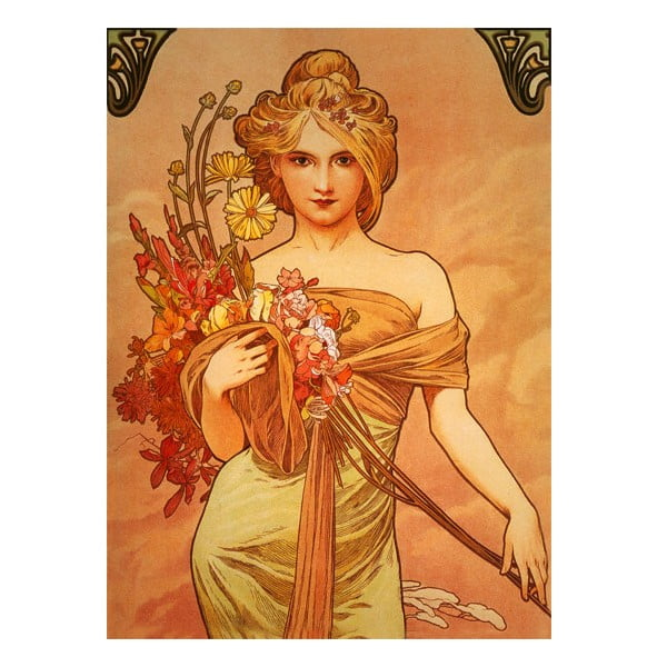 Obraz Alfons Mucha Bouquet, 55x40 cm