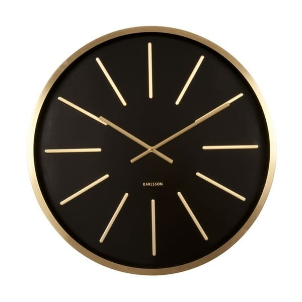 Čierne hodiny Present Time Maxiemus Brass