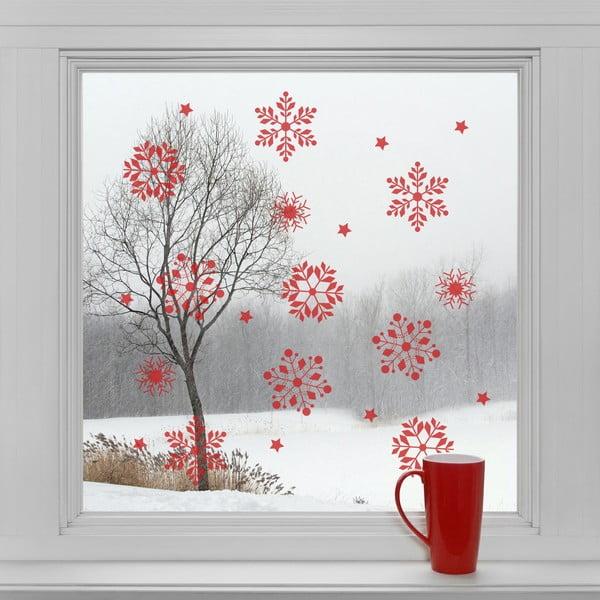 Elektrostatické vianočné samolepky Červené vločky