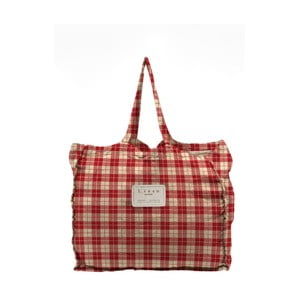 Látková taška Linen Red Square, šírka 50 cm