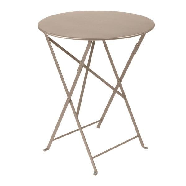 Svetlobéžový skladací kovový stôl Fermob Bistro