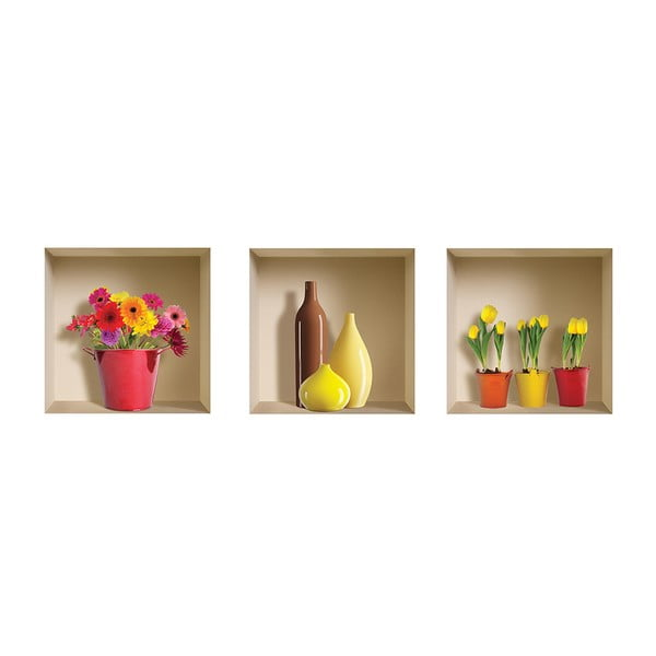 3D samolepky na stenu Flower Pot