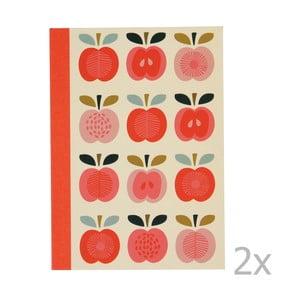 Sada 2 linajkových zošitov s potlačou jabĺk Rex London Vintage Apple
