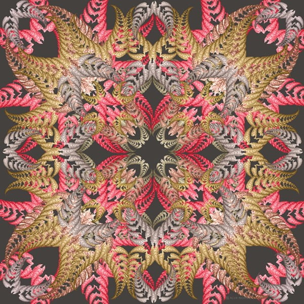 Šatka Fern Black, 130x130 cm