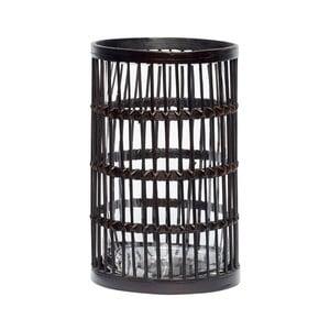 Čierny bambusový lampáš Hübsch Nigellus, výška 27 cm