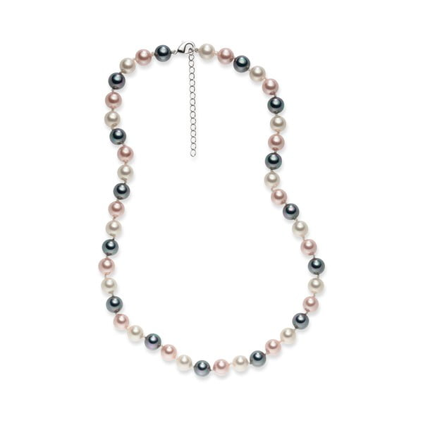 Sivo-ružový perlový náhrdelník Pearls Of London Mystic, dĺžka 42 cm