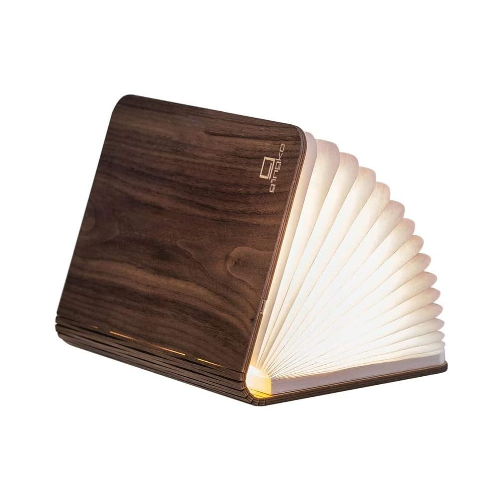 Tmavohnedá LED stolová lampa v tvare knihy z orechového dreva Gingko Mini