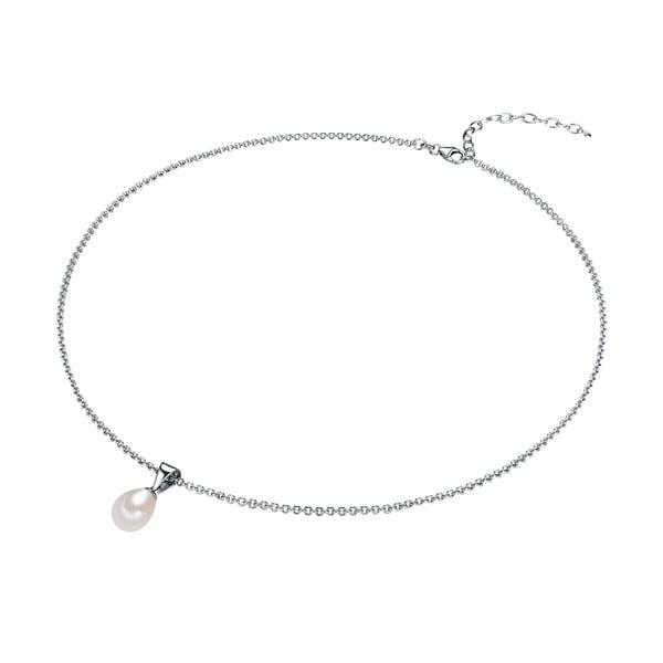 Strieborný náhrdelník s bielou perlou Chakra Pearls, 42 cm