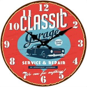 Sklenené hodiny V garáži, 34 cm