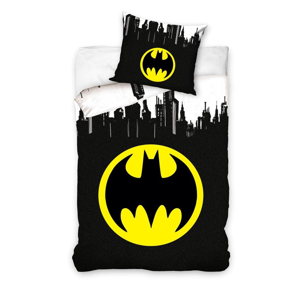 Detské bavlnené obliečky na jednolôžko CARBOTEX Batman Logo, 160 × 200 cm