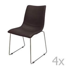 Sada 4 hnedých stoličiek Canett Delta