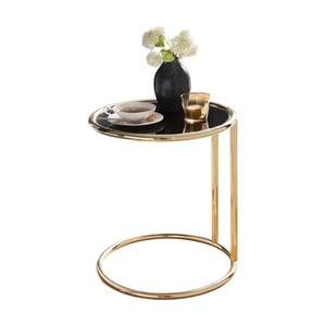 Čierny príručný stolík s nohami v zlatej farbe Skyport Leona, ⌀ 45 cm