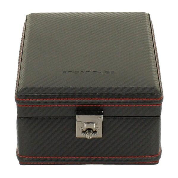 Čierno-červený box na 4 hodinky Firedrich Lederwaren Carbon