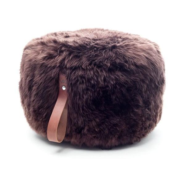 Tmavohnedý puf z ovčej kožušiny Royal Dream, Ø60 cm