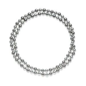 Striebornosivý perlový náhrdelník Pearls Of London Mystic, dĺžka 90 cm