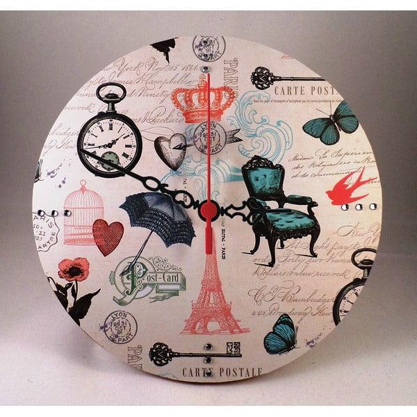 Nástenné hodiny Carte Postale, 30 cm