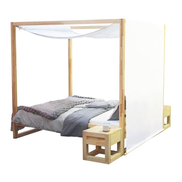 Drevená dvojlôžková posteľ Benlemi Baldee Nature, 190 × 160 cm