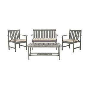 Sivý set dreveného záhradného stolíka a stoličiek z agátového dreva Safavieh Mystique