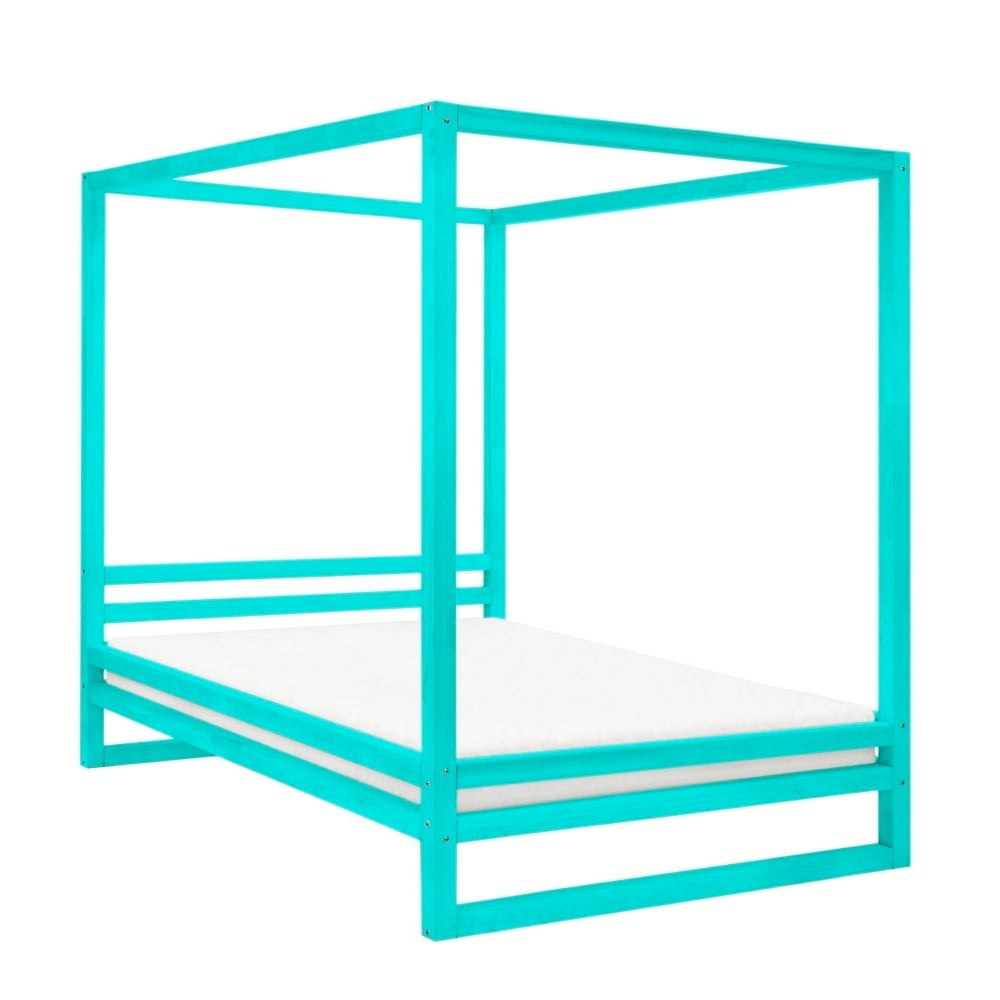 Tyrkysovomodrá drevená dvojlôžková posteľ Benlemi Baldee, 200 × 190 cm
