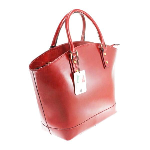 Červená kožená kabelka Chicca Borse Stefania