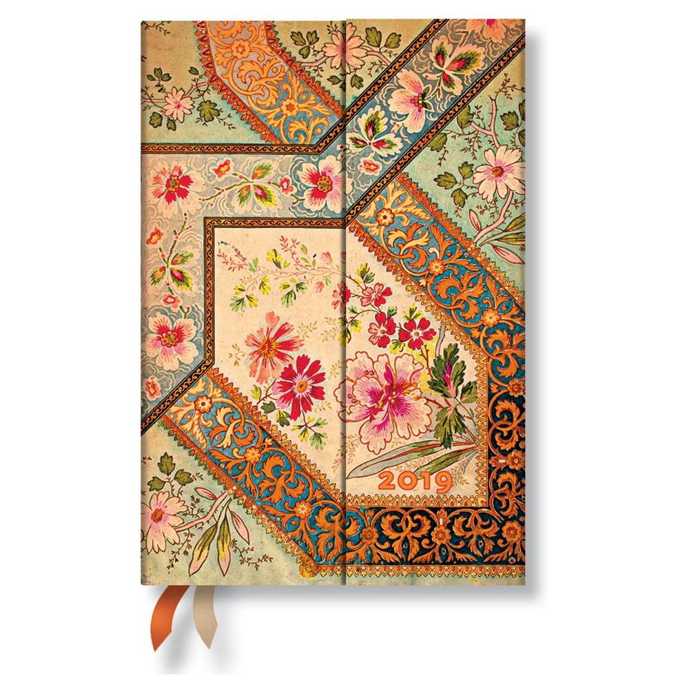 Diár na rok 2019 Paperblanks Filigree Floral Ivory Verso, 10 × 14 cm