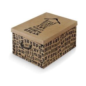 Hnedý úložný box s čiernymi detailmi Domopak Kraft, dĺžka 50 cm