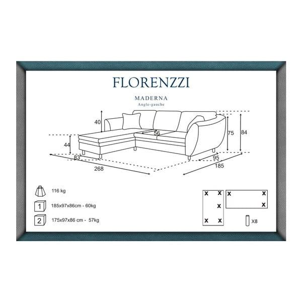 Béžová pohovka Florenzzi Maderna s leňoškou na ľavej strane