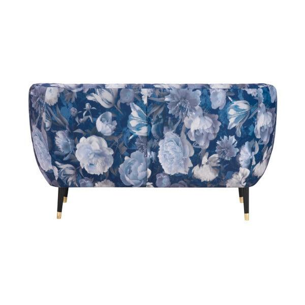 Modrá dvojmiestna pohovka Mazzini Sofas Benito Floral