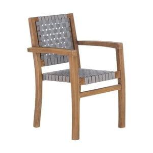 Sivá záhradná stolička z recyklovaného teakového dreva SOB Garden
