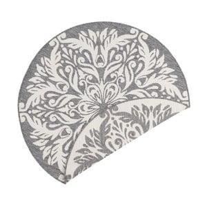 Sivo-krémový obojstranný koberec vhodný aj do exteriéru Bougari Madrid, ⌀ 140 cm