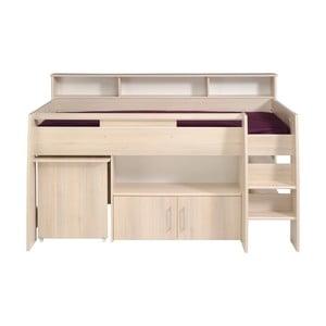 Multifunkčná jednolôžková posteľ v dekore akáciového dreva Parisot Adelise, 90×200 cm