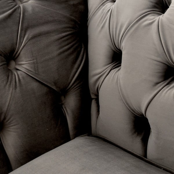 Sivá pohovka pre troch Vivonita Chesterfield
