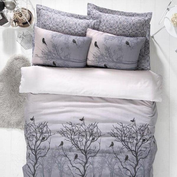 Obliečky s plachtou Birds Grey s plachtou 200x220 cm