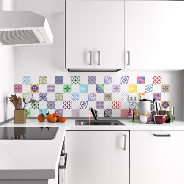 Sada 60 nástenných samolepiek Ambiance Vintage Artistic Tiles, 10 × 10 cm