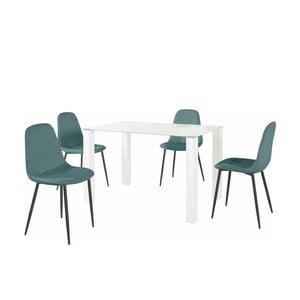 Sada jedálenského stola a 4 tyrkysových stoličiek Støraa Dante, dĺžka stola 120 cm