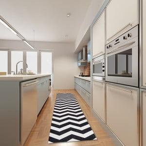Vysokoodolný kuchynský koberec Webtappeti Optical Black White, 80 x 130cm