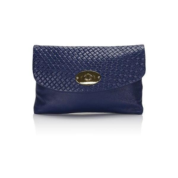 Modrá kožená listová kabelka Giulia Massari Medea