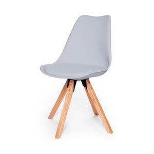 Sivá stolička s podnožím z bukového dreva loomi.design Eco