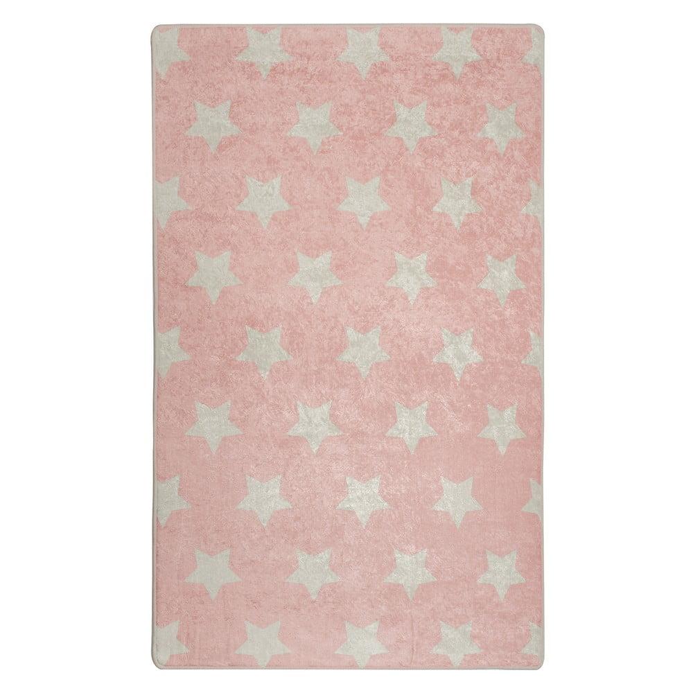 Ružový detský protišmykový koberec Chilam Stars, 140 x 190 cm