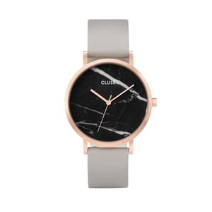 Dámske hodinky so sivým koženým remienkom a mramorovým ciferníkom dekoru Cluse La Roche Rose