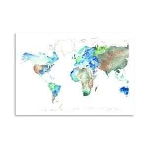 Plagát World Map, 30x42 cm