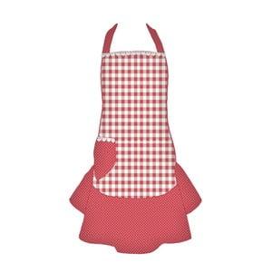 Kuchynská zástera Basic Hearts, červená