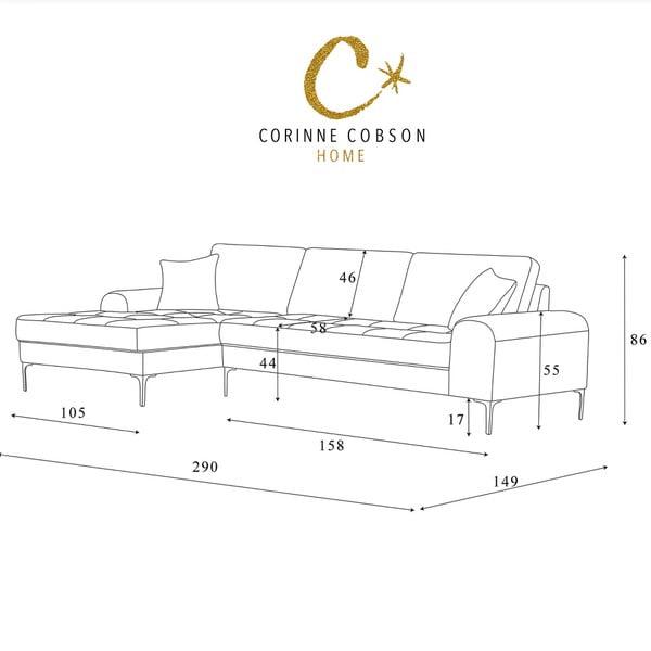 Svetlosivá rohová pohovka Corinne Cobson Home Dillinger, ľavý roh