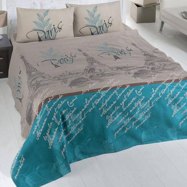 Hnedo-modrý bavlnený pléd na posteľ Paris,200x230cm