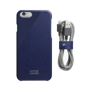 Set tmavomodrého obalu z pravej kože a nabíjacieho kábla pre iPhone 6 a 6S Plus Native Union Clic Leather Belt