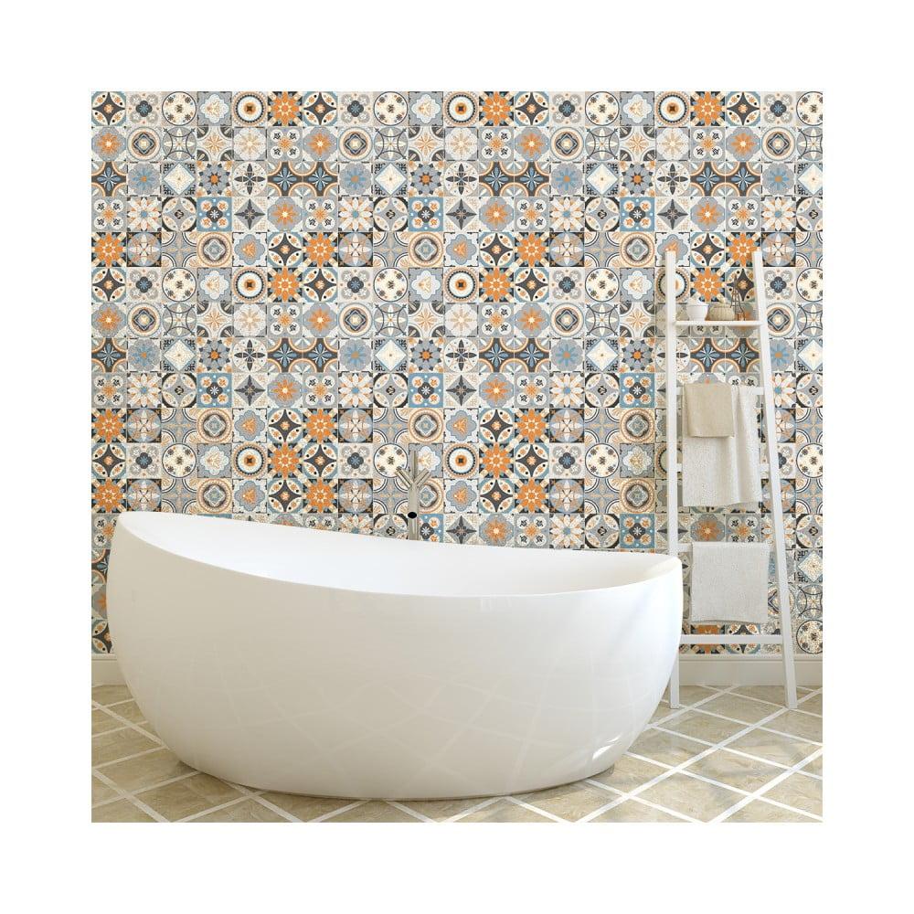 Sada 60 nástenných samolepiek Ambiance Wall Decal Cement Tiles Azulejos Vincinda, 10 × 10 cm