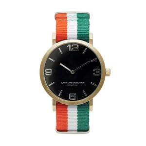Unisex hodinky South Lane Stockholm Signature Black Gold Stripes RWG