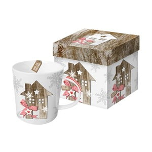 Porcelánový hrnček s vianočným motívom v darčekovom balení PPD Country Xmas Home, 350 ml