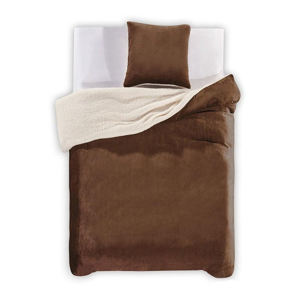 Hnedé obliečky z mikrovlákna DecoKing Teddy, 200 × 200 cm