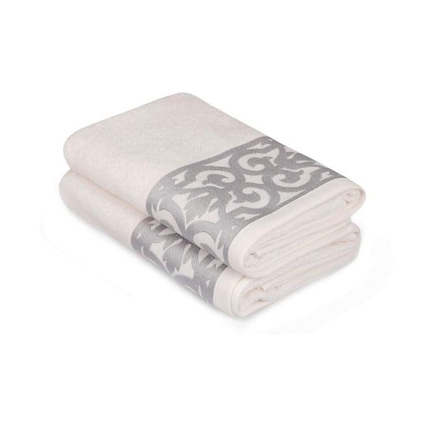 Sada 2 bielych uterákov na ruky so sivým lemovaním Grace
